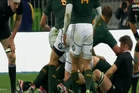 All Black captain Richie McCaw cops an elbow to the jaw from Springbok prop Dean Greyling during the Four Nations Championship Rugby Test Match between New Zealand and South Africa. Photo / Sky sport