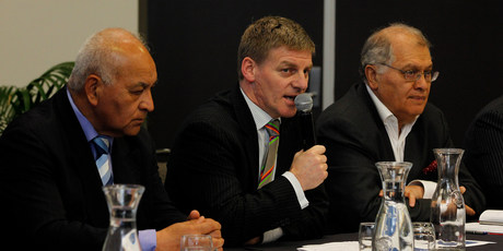 Bill English addresses those who showed up to talk about water rights. Photo / Christine Cornege