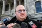 Internet billionaire Kim Dotcom holding a press conference after attending question time in Parliament, Wellington. Photo / Mark Mitchell