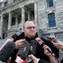Kim Dotcom holds a press conference after attending Question Time in Parliament. Photo / Mark Mitchell