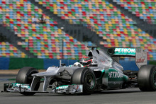 Brendon Hartley on the track at Magny-Cours in the Mercedes AMG Petronas F1 car.