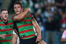 Sam Burgess is on form for the Rabbitohs tonight. Photo / Mark Kolbe 