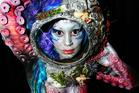 Model Hannah Sinclair's body was a canvas for make-up artist Myrtha Heydenrijk.   Photo / Doug Sherring