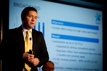 Chris Quin addresses the media during the recent Telecom financial results presentation. Photo / Dean Purcell