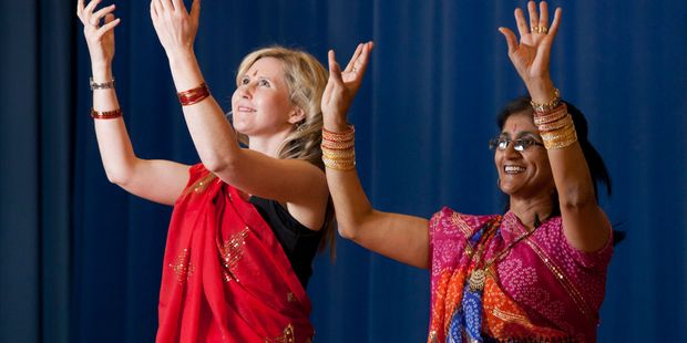 Channelling her inner-girlie-girl - complete with bangles and beautiful sari - Rachel Grunwell performs with Ella Kumar who teaches Bollywood-style Indian dancing for fitness. Photo / Michelle Hyslop