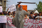 A Pakistani worker shouts anti U.S. slogans during a rally in Islamabad, Pakistan. Photo / AP