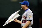 New York Mets' Daniel Murphy wants to know nothing but the plane truth as he roams the outfield during a game against the Milwaukee Brewers this week. Photo / AP