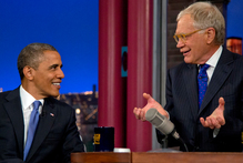 President Barack Obama talks with David Letterman about Mitt Romney's comments that 47 per cent of Americans were 'victims'. Photo / AP