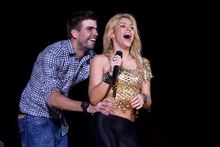 Colombian singer Shakira with FC Barcelona player and dad-to-be, Gerard Pique. Photo / AP
