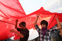 Georgian demonstrators carry a state flag during a protest rally against prison abuse in Tbilisi, Georgia. Photo / AP