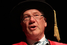 Hugh Fletcher, seen her receiving an Honorary Doctor of Laws Degree from The University of Auckland earlier this year. Photo / Sarah Ive