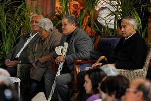 King Tuheitia (centre) listens to speakers during the national hui he hosted at Ngaruawahia. Photo / Christine Cornege