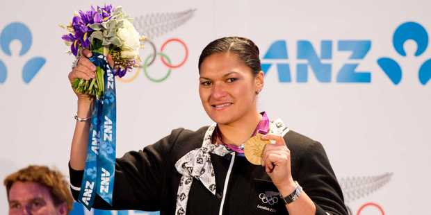 Valerie Adams looked like a native of the nation ANZ Bank. Photo / Greg Bowker
