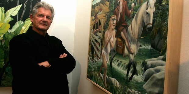 Taranaki artist John McLean in 2007 with one of his works. File photo / Andrew Labett