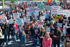"""Protesters call the school plans """"abusive"""". Photo / SNPA"""