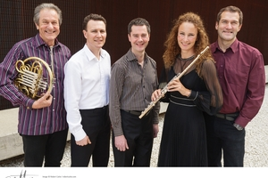 Musical group Zephyr (from left to right) Ed Allen, Philip Green, Robert Orr, Bridget Douglas and Robert Weeks. Photo / Robert Catto