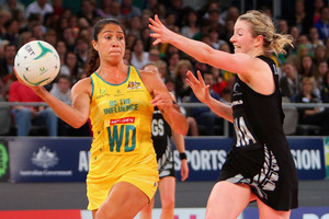 Mo'onia Gerrard of the Diamonds looks for a team-mate during the Constellation Cup match between the Australian Diamonds and the New Zealand Silver Ferns at Hisense Arena. Photo / Getty Images.