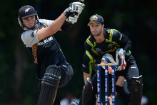 Tim Southee of New Zealand bats during the T20 World Cup Warm Up Match between Australia and New Zealand. Photo / Getty Images.
