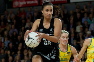 Shooter Maria Tutaia has been ruled out of the Silver Ferns match against Australia tomorrow night with a knee injury and has been replaced in the squad by Anna Thompson. Photo / Getty Images.