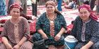 Women selling traditional Turkmen embroidery. Photo / Jill Worrall
