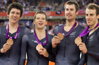 Jesse Sergeant, left, won bronze at the London Olympics in the team pursuit. Photo / Mark Mitchell