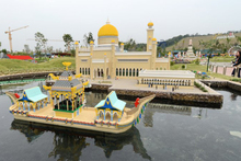 A model of Brunei's Sultan Omar Ali Saifuddin Mosque, made entirely from Lego bricks, is seen at Malaysia's Legoland Park in Johor Bahru. Photo / AFP