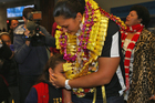 London Olympic Games gold medallist Valerie Adams is welcomed home at Auckland International Airport. Photo / Getty Images