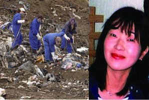 Police search Greenmount landfill (left) in East Tamaki in late 1998 after Kayo Matsuzawa (right) was found. Photo / TVNZ, NZ Herald File