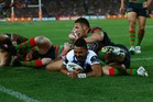 Krisnan Inu scores for the Bulldogs as his side defeat the Rabbitohs to reach the Grand Final. Photo / Getty Images