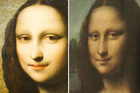 A painting attributed to Leonardo da Vinci representing Mona Lisa is shown on the left, with the current Mona Lisa on the right. Photo / AP