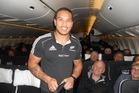 Hosea Gear takes a turn as a flight steward on board Air New Zealand flight 1349 bound for Buenos Aires. Photo / James Ihaka