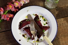 Beetroot, balsamic and macadamia ravioli made by the Little Bird team.Photo / Supplied