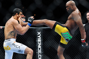 Anderson Silva lands a knockout kick to the jaw of Vitor Belfort at UFC 126 in Las Vegas. Photo / Getty Images