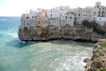 Polignano a Mare is in a dramatic location above a pounding surf. Photo / Getty Images