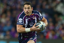 In the latest video-review disaster, Melbourne ace Billy Slater was awarded a try although the gap between his arm and the ball was so big it looked like an Eden Park rugby union crowd. Photo / Getty