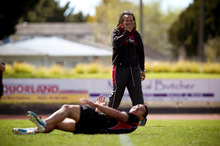 Counties Manukau coach Tana Umaga shows the way during training at Massey Park, Papakura. Photo / Dean Purcell 