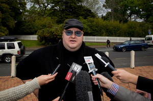 Kim Dotcom outside the Auckland High Court this afternoon. Photo / Sarah Ivey