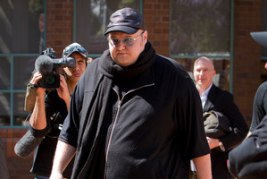 Kim Dotcom leaving the Auckland High Court this afternoon. Photo / Sarah Ivey