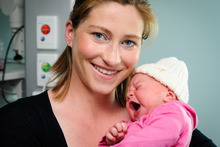 Rodney Hide's wife Louise, and their new born baby girl Grace at Wellington Hospital.  Photo / Mark Coote