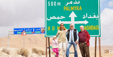 From left: Zenobia (Warren's daughter, aged 5), Hanlie (Warren's wife), Warren Searell and Richard Trist (cousin of Warren) at a Syrian crossroads. Picture / Talei Searell