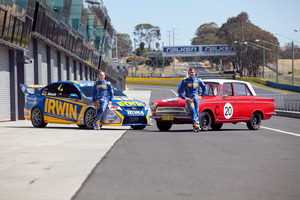 Kiwi driver Craig Baird (right) and Lee Holdsworth couldn't believe how much easier the Bathurst course was in a 2012 V8 Supercar compared to the basic family car Cortina.