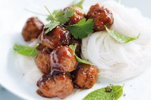 Sticky meatball noodle salad. Photo / William Meppem