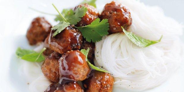 Sticky meatball noodle salad. Photo / William Meppem