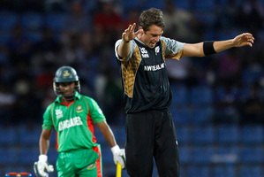 Tim Southee celebrates taking the wicket of Mohammad Ashraful against Bangladesh on Saturday. Photo / AP