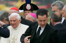 Pope Benedict XVI and his former butler Paolo Gabriele (right). Photo / AP