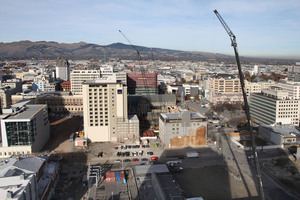 The earthquake-damaged Christchurch CBD red zone. Photo / APN