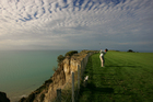 The cliff-edged Pirate's Plank hole at Cape Kidnappers golf course is not for the faint-hearted. Photo / Brett Phibbs