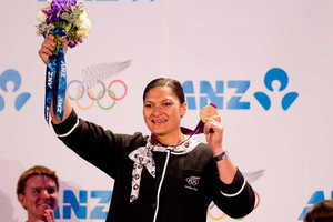 Valerie Adams' delayed medal presentation took place in front of a proud crowd. Photo / NZ Herald
