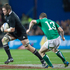 Richie McCaw breaks past Ireland's captain Brian O'Driscoll in the third of three test matches in the series against them.