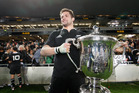 Richie McCaw celebrates winning the Bledisloe Cup against Australia at Eden Park Auckland. Photo / File